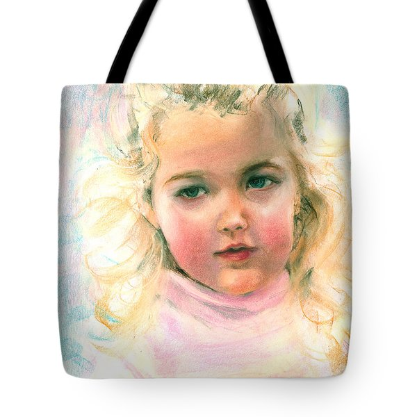 Pastel Portrait Of An Angelic Girl Tote Bag