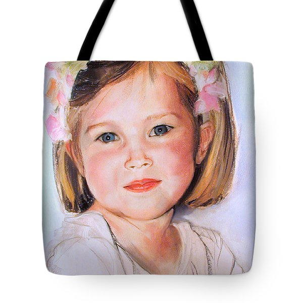 Pastel Portrait Of Girl With Flowers In Her Hair Tote Bag
