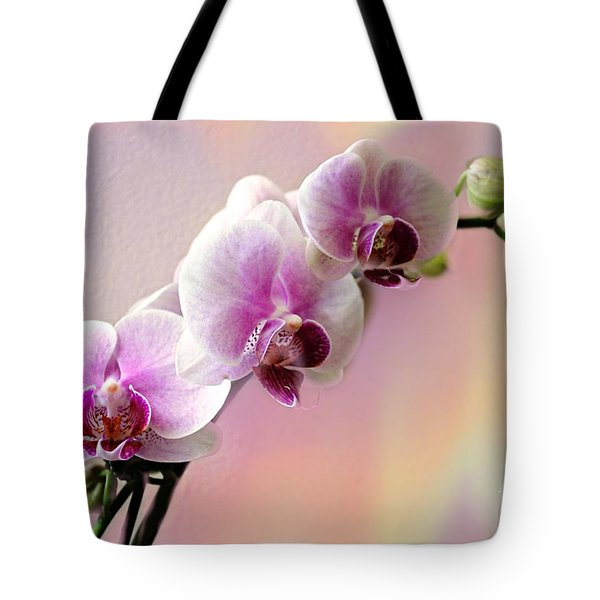 Pastel Rainbow Orchid Tote Bag by Judy Palkimas