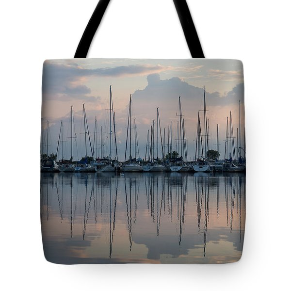 Pastel Sailboats Reflections At Dusk Tote Bag