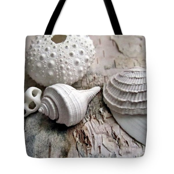 Pastel Urchin White Corals Birch Bark Tote Bag