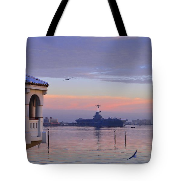Pastel Uss Lexington Tote Bag by Leticia Latocki