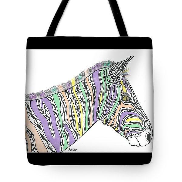 Tote Bag featuring the painting Pastel Zebra  by Susie Weber