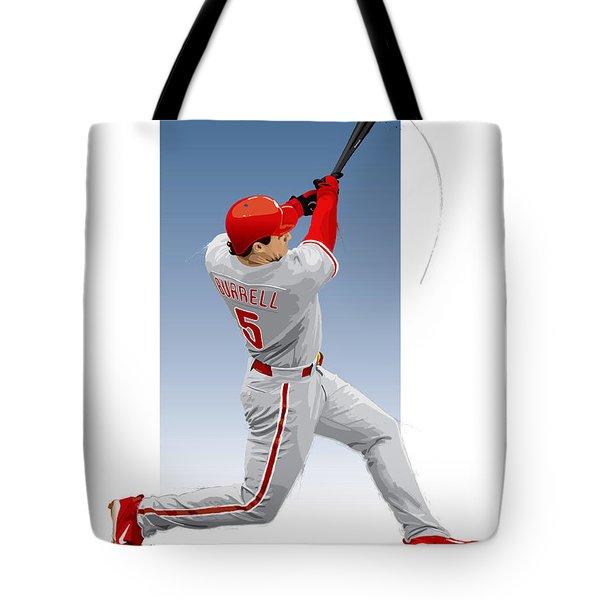 Tote Bag featuring the digital art Pat The Bat Burrell by Scott Weigner