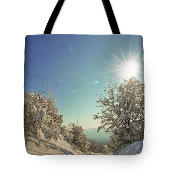 Path Covered With Snow In A Sunny Winter Day Tote Bag