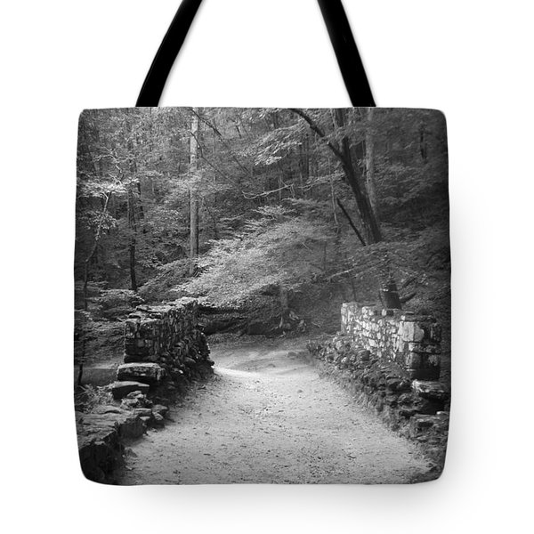Path In Black And White Tote Bag