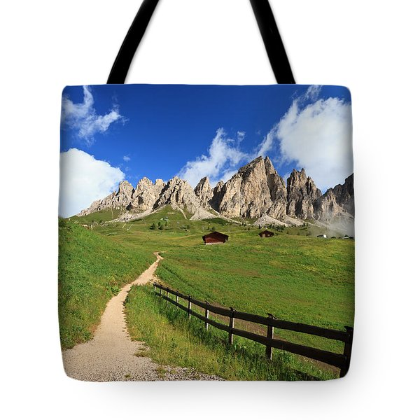 Tote Bag featuring the photograph path in Gardena pass by Antonio Scarpi