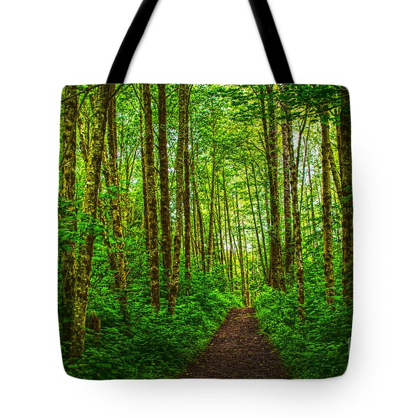 Path In Green Tote Bag by Sonya Lang