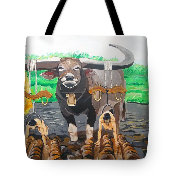 Tote Bag featuring the painting Paths In The Soil  by Lazaro Hurtado