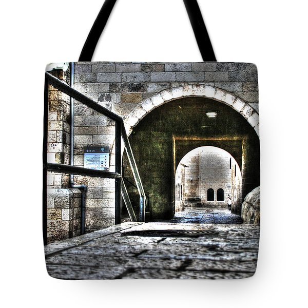 Tote Bag featuring the photograph Pathway Through Old Jerusalem by Doc Braham
