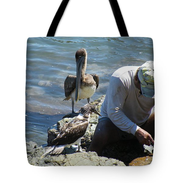 Tote Bag featuring the photograph Patient Pelicano  by Brian Boyle