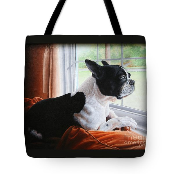 Tote Bag featuring the painting Patiently Waiting by Mike Ivey