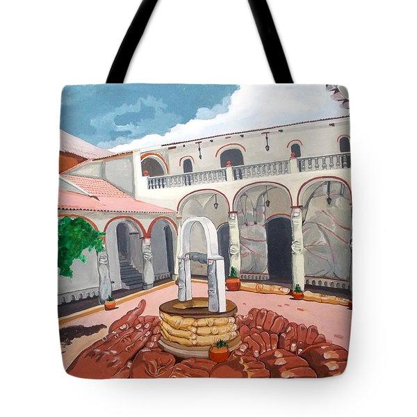 Patio Colonial Tote Bag by Lazaro Hurtado