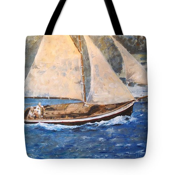 Tote Bag featuring the painting Patriot At Catalina Lighthouse by Alan Lakin