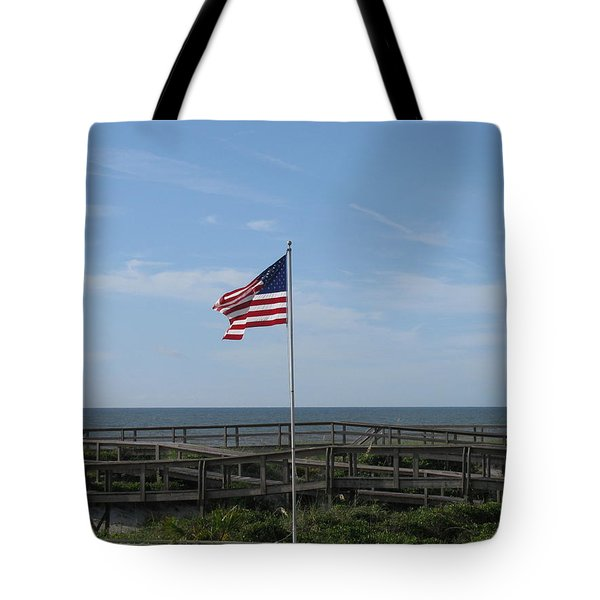Patriotic Beach View Tote Bag