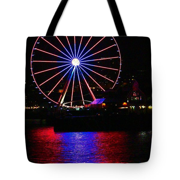 Patriotic Ferris Wheel Tote Bag by Kym Backland
