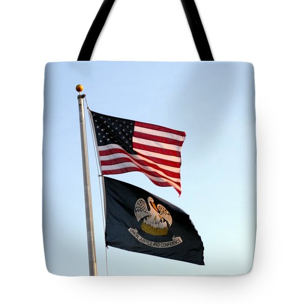 Tote Bag featuring the photograph Patriotic Flags by Joseph Baril