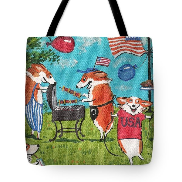 Patriotic Pups Tote Bag by Margaryta Yermolayeva
