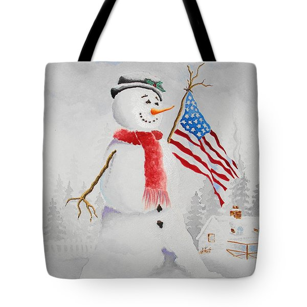 Patriotic Snowman Tote Bag