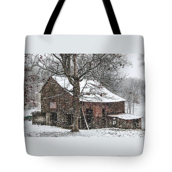 Patriotic Tobacco Barn Tote Bag by Debbie Green