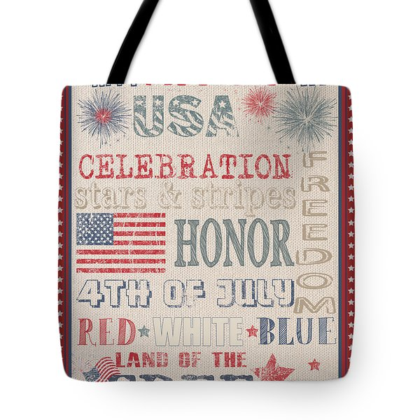 Patriotic Typography-b Tote Bag by Jean Plout