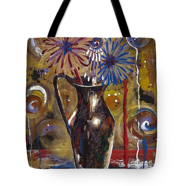 Tote Bag featuring the painting Patriotism Blooms by Margaret Bobb