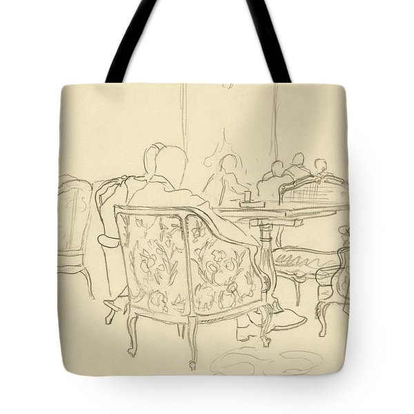 Patterned Chairs At A Restaurant Tote Bag