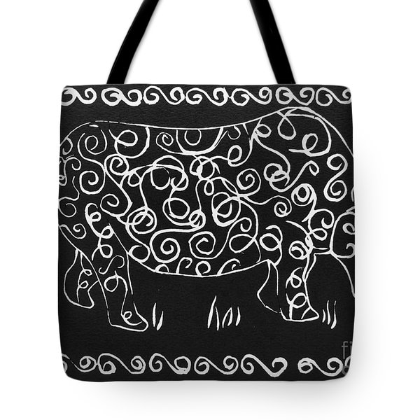 Patterned Rhino Tote Bag by Caroline Street