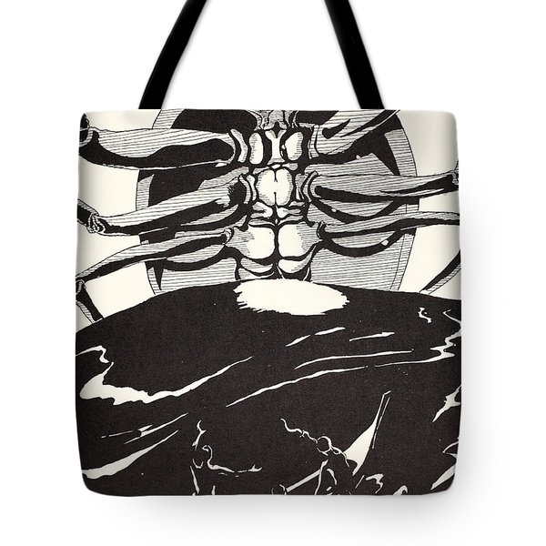 Pau Amma The Crab Rising Out Of The Sea As Tall As The Smoke Of Three Volcanoes Tote Bag by Joseph Rudyard Kipling