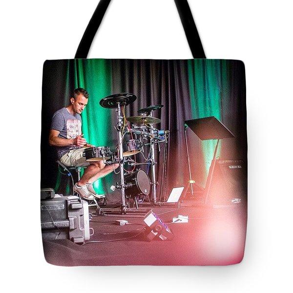 Paul Harvey, Drummer At Grace Tote Bag