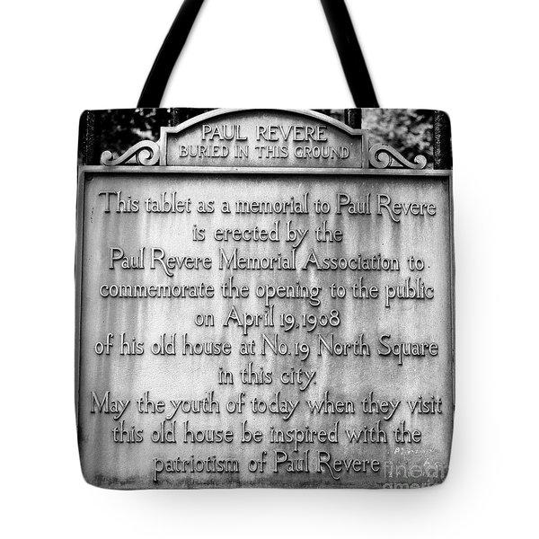 Paul Revere Burial Plaque Boston Massachusetts Tote Bag
