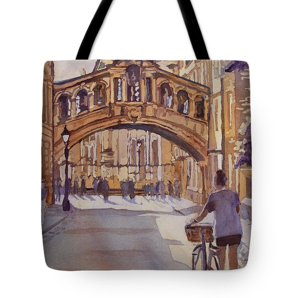 Pausing Before The Bridge Tote Bag by Jenny Armitage
