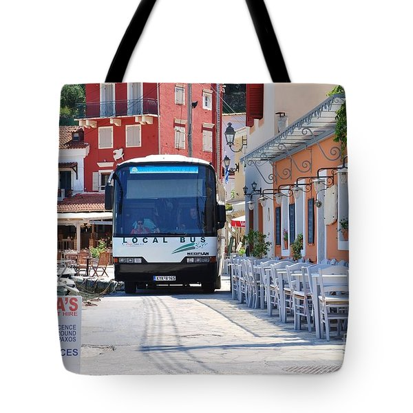 Paxos Island Bus Tote Bag