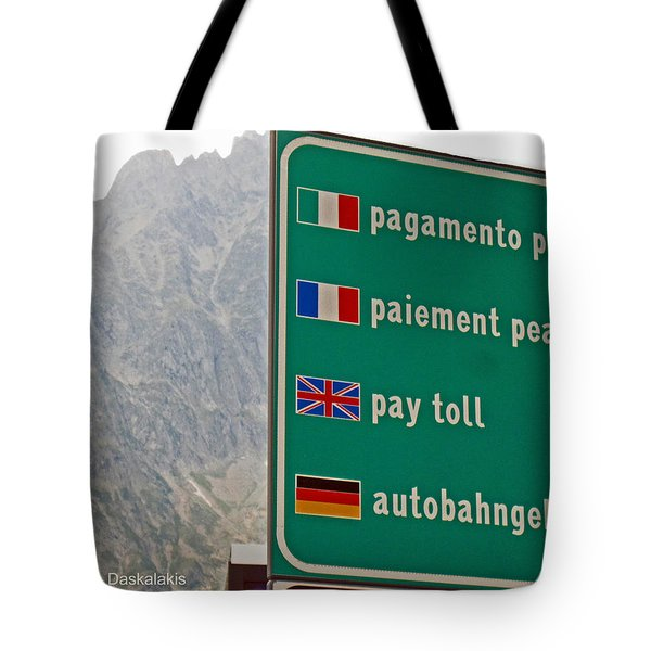 Pay Toll Italy Tote Bag
