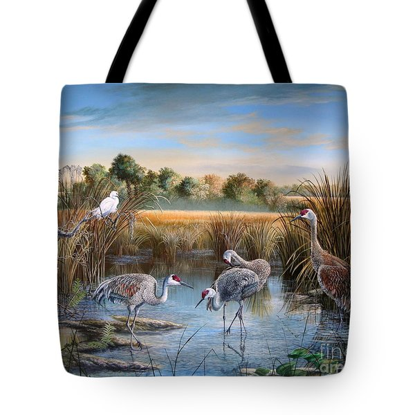 Paynes Prairie Preserve State Park- Day Of The Sand-hill Tote Bag