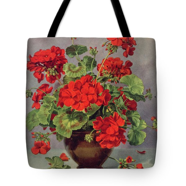 Geranium In An Earthenware Vase Tote Bag