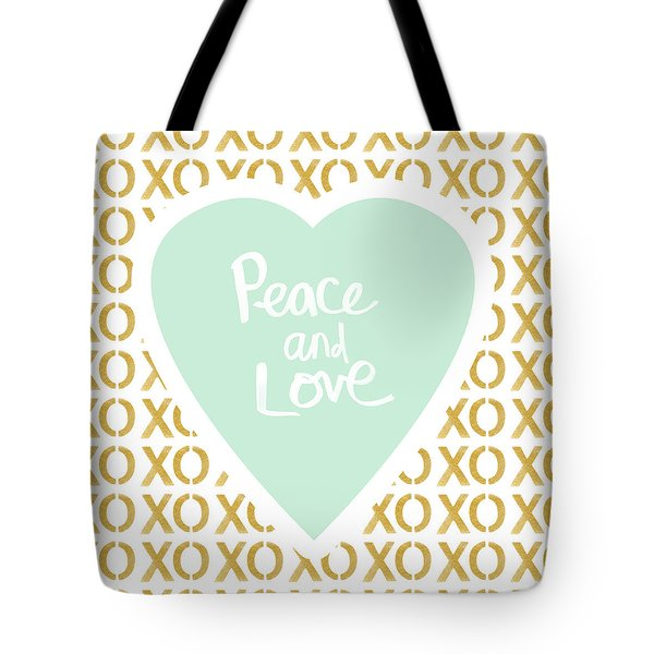 Peace And Love In Aqua And Gold Tote Bag