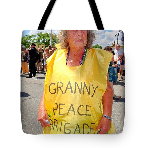 Tote Bag featuring the photograph Peace Granny by Ed Weidman
