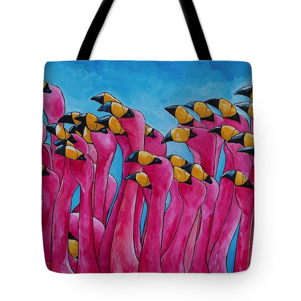 Peace Love And Flamingos Tote Bag by Patti Schermerhorn