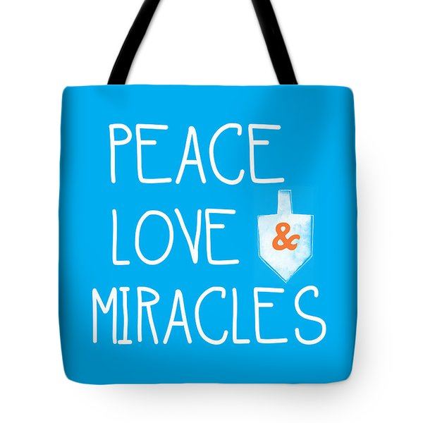 Peace Love And Miracles With Dreidel  Tote Bag