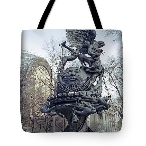 Peace Sculpture In New York Tote Bag by Daniel Hagerman
