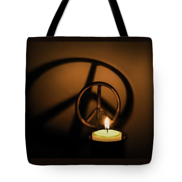 Peace Symbol Candle  Tote Bag