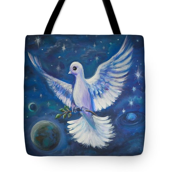 Tote Bag featuring the painting Peace To The World by Agata Lindquist