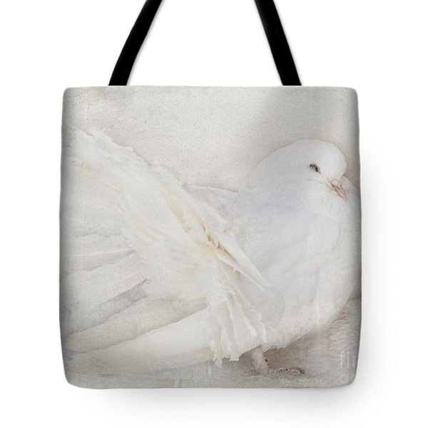 Peaceful Existence White On White Tote Bag