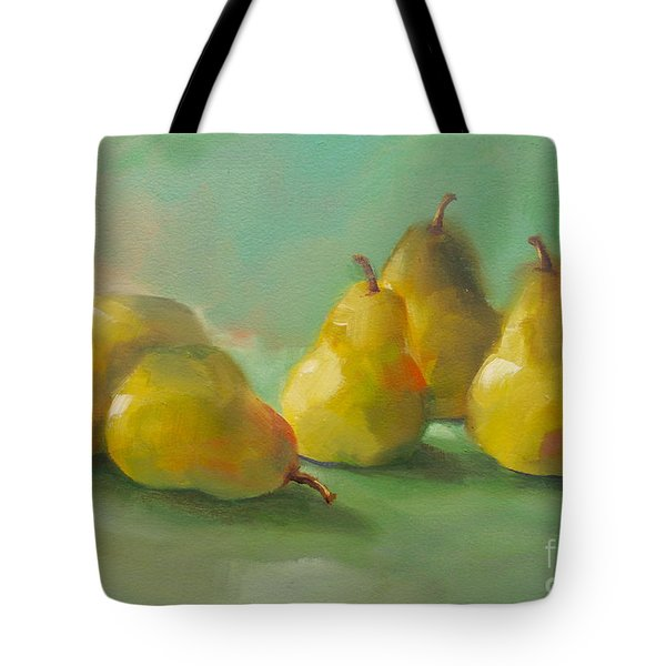Tote Bag featuring the painting Peaceful Pears by Michelle Abrams
