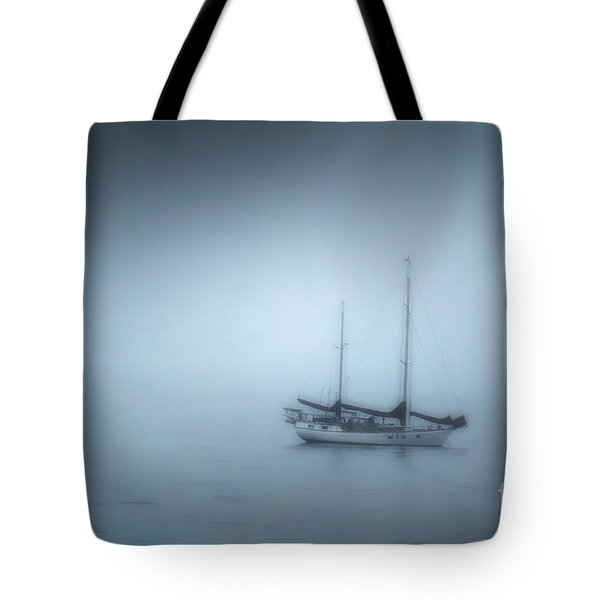 Peaceful Sailboat On A Foggy Morning From The Book My Ocean Tote Bag by Artist and Photographer Laura Wrede