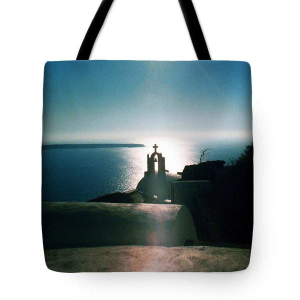 Tote Bag featuring the photograph Peaceful Sunset Santorini Island Greece by Colette V Hera  Guggenheim