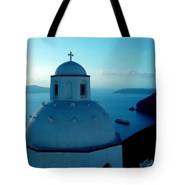Peacefull Santorini Greek Island  Tote Bag by Colette V Hera  Guggenheim