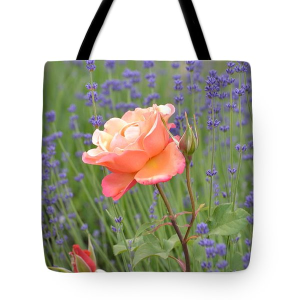 Peach Roses In A Lavender Field Of Flowers Tote Bag