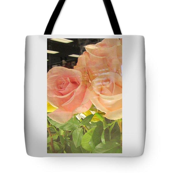 Peach Roses In Greeting Card Tote Bag
